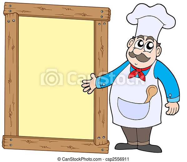 Chef with wooden panel - csp2556911