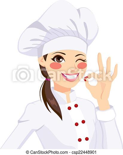 Chef Woman Gesturing Okay Sign - csp22448901