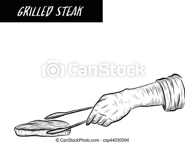 Cheff grill steak on white background - csp44030094