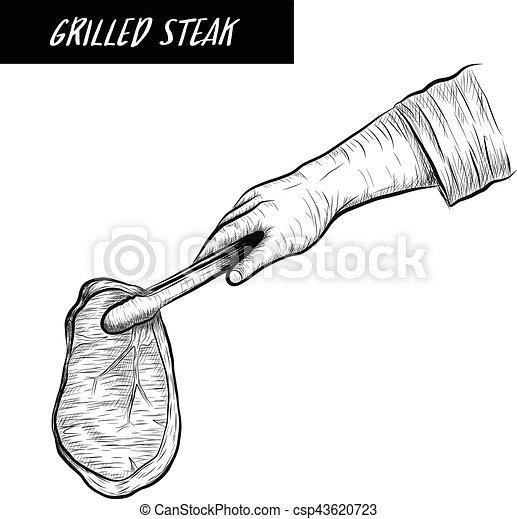 Cheff grill steak on white background - csp43620723
