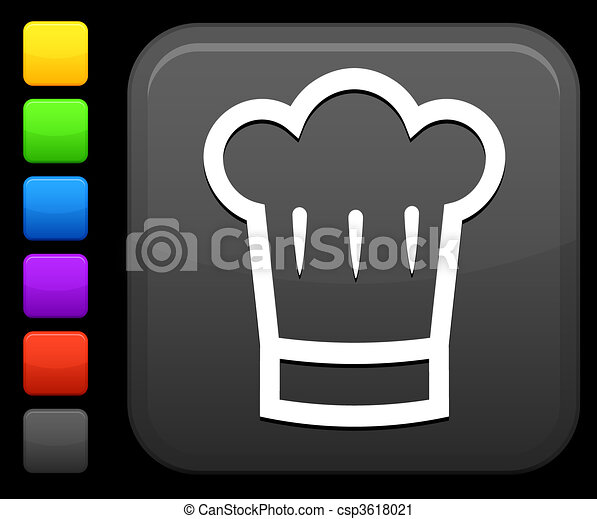 chef\'s hat icon on square internet button - csp3618021