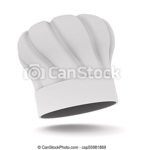 Chefs hat on white background. Isolated 3D illustration - csp55981869