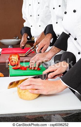 chefs preparing food  - csp6096252