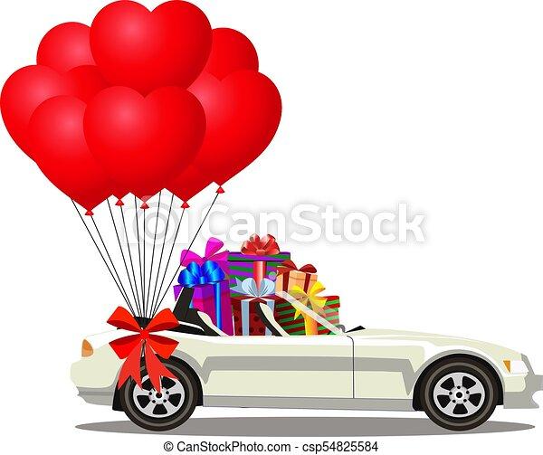 cheio, aberta, presente, car, modernos, caixas, branca, cabriolé, balões, caricatura - csp54825584