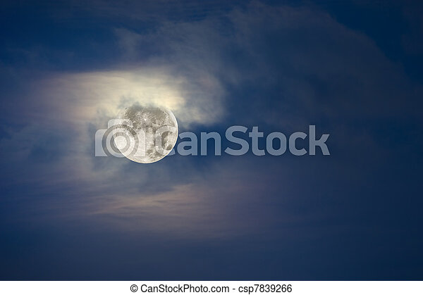 cheio, céu, nublado, lua - csp7839266