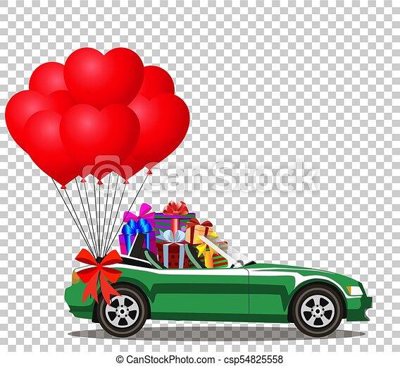 cheio, car, presentes, verde, balões, vermelho, grupo - csp54825558