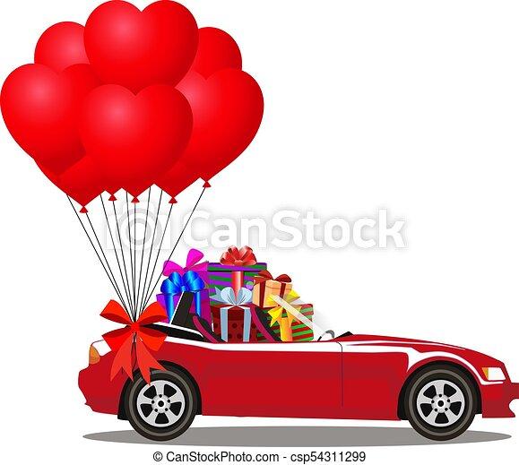 cheio, presente, cabriolé, car, caixas, balões, caricatura, vermelho, grupo - csp54311299