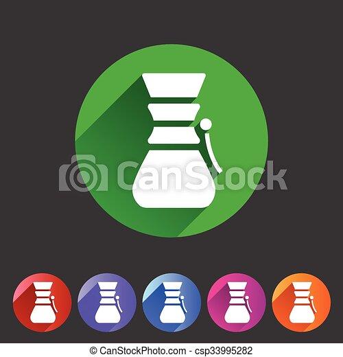 Chemex coffeemaker coffee icon flat web sign symbol logo label - csp33995282