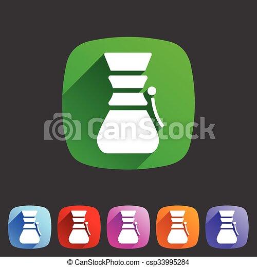 Chemex coffeemaker coffee icon flat web sign symbol logo label - csp33995284