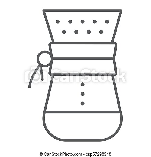 Chemex thin line icon, coffee and cafe, coffeemaker sign vector graphics, a linear pattern on a white background, eps 10. - csp57298348