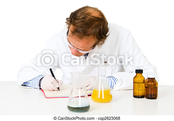 Chemical analist. Chemical analyst taking notes after... pictures ...