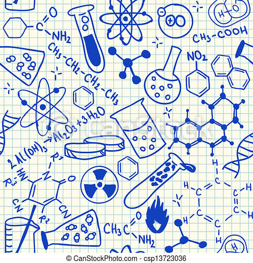 Chemical doodles seamless pattern - csp13723036