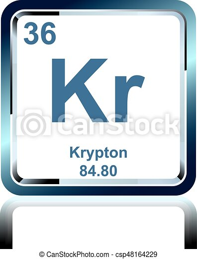 Chemical Element Krypton From The Periodic Table Symbol Of Chemical