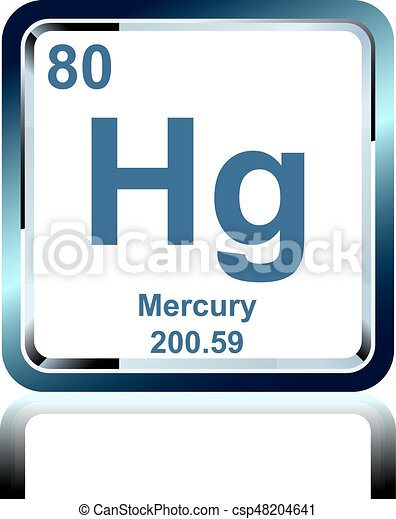Chemical Element Mercury From The Periodic Table Symbol Of Chemical