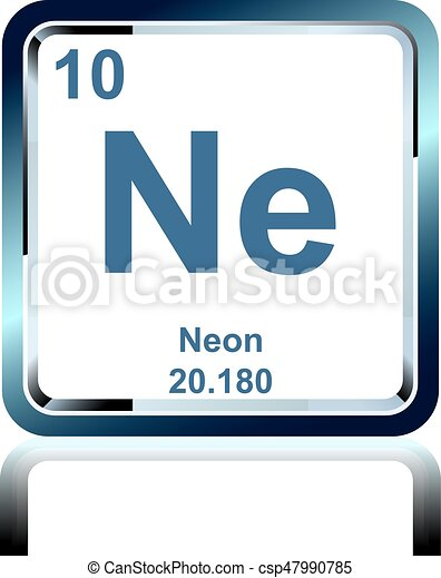 Chemical Element Neon From The Periodic Table Symbol Of Chemical