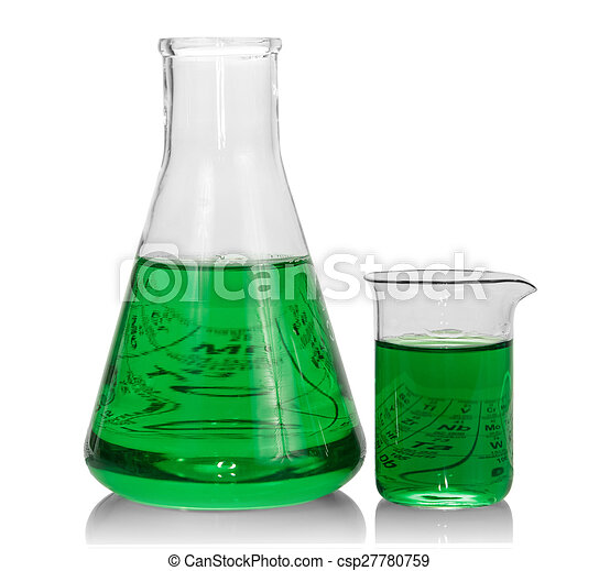 Chemical flasks with green liquid - csp27780759