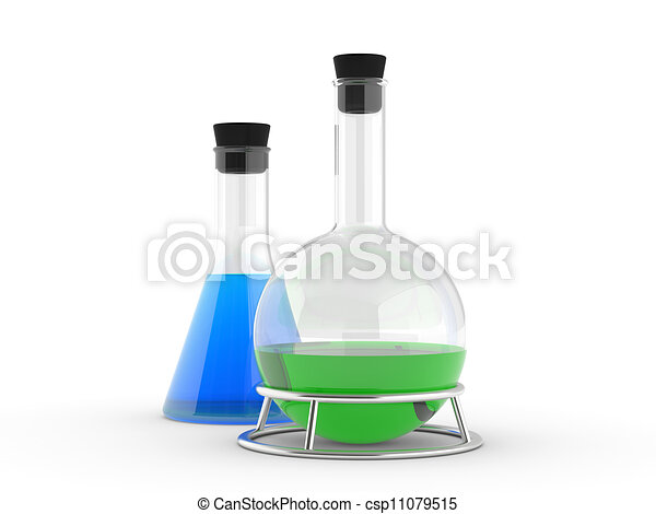 chemical flasks with reagents - csp11079515