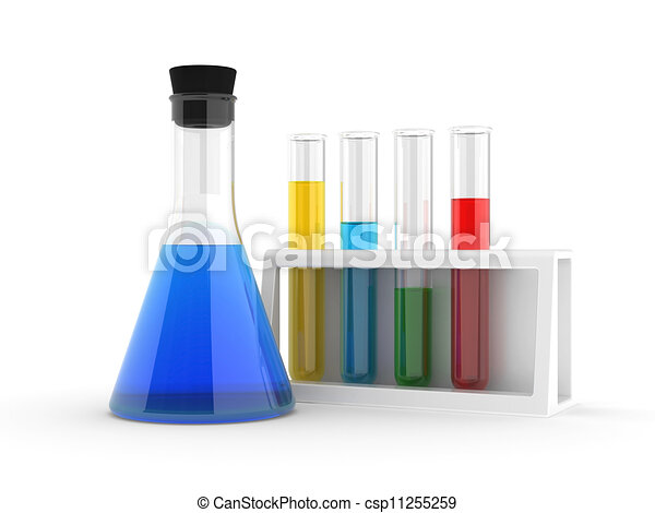 chemical flasks with reagents - csp11255259
