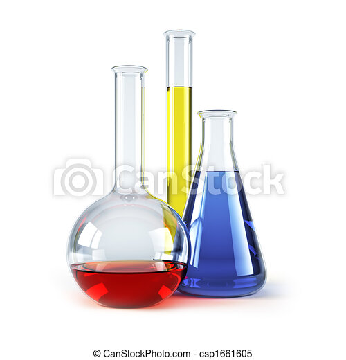 chemical flasks with reagents - csp1661605
