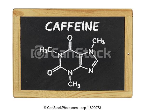 chemical formula of caffeine on a blackboard - csp11890973