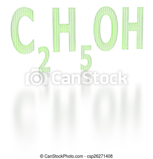 Chemical Formula Of Ethyl Alcohol With A Six Sided Grid Stock