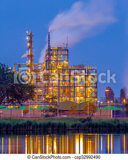 Chemical industry in the evening - csp32992490