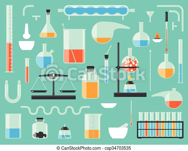 Set Of Chemical Laboratory Equipment Glass Vectors