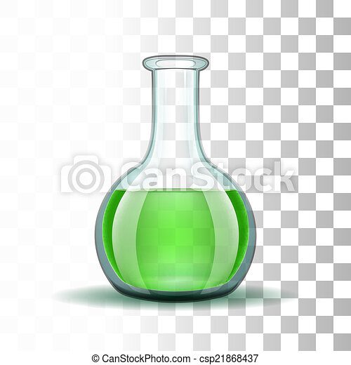 Chemical laboratory transparent flask with green liquid - csp21868437