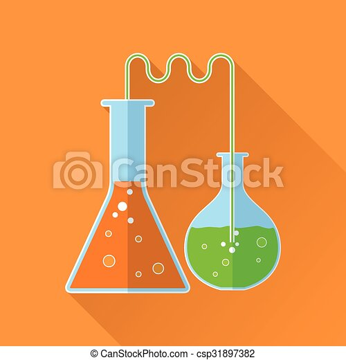 Chemical reaction flat icon - csp31897382
