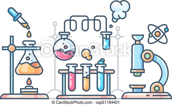 chemical scientific experiment beakers and test tubes for vector rh canstockphoto com Science Lab Clip Art science experiment clipart free