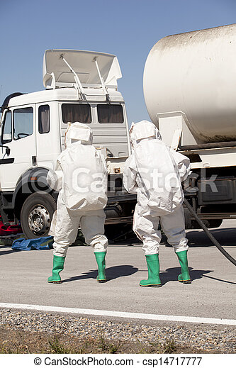 chemical spill after road accident - csp14717777