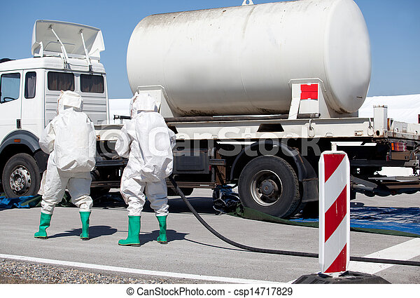 chemical spill after traffic accident  - csp14717829