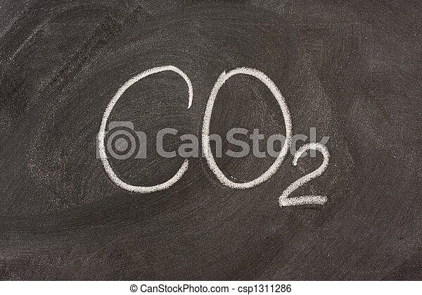 chemical symbol for carbon dioxide on a blackboard - csp1311286
