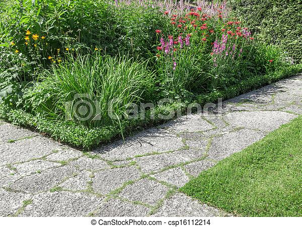 chemins, pierre, ensoleillé, jardin - csp16112214