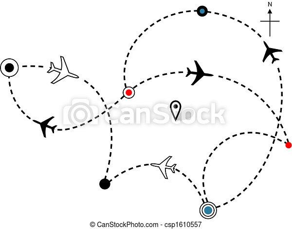 chemins, vol, plans, carte, voyage, avion, ligne aérienne - csp1610557