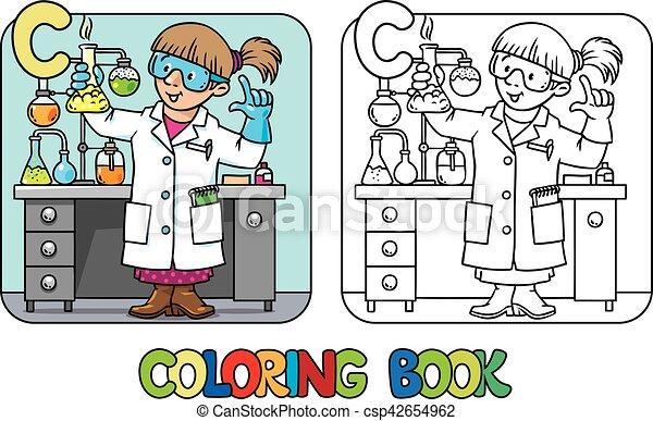 Chemist coloring book. Profession ABC. Alphabet C - csp42654962