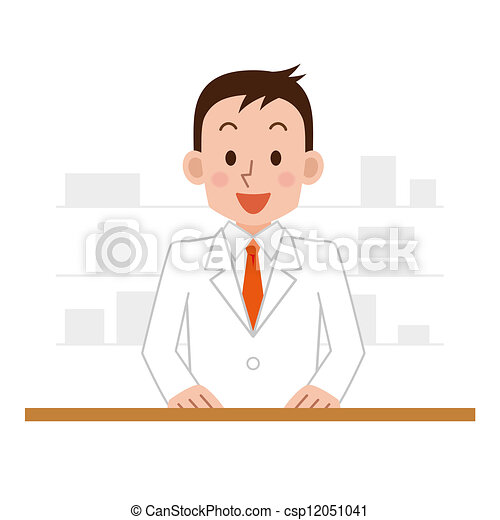 chemist man standing in pharmacy  - csp12051041