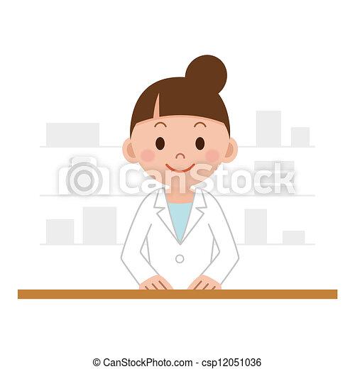 chemist woman standing in pharmacy - csp12051036