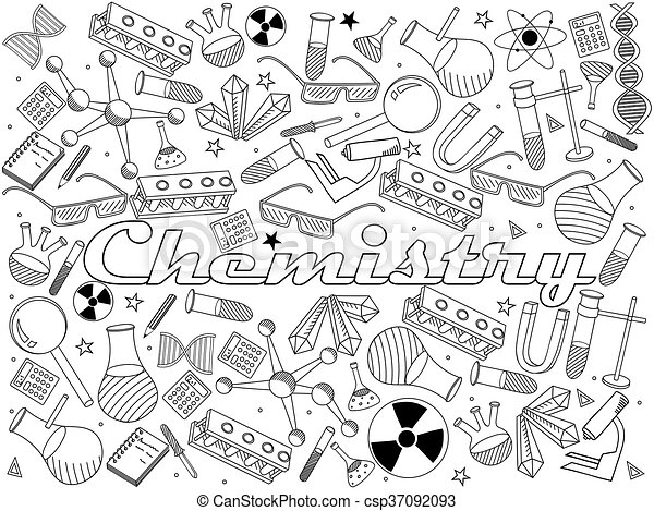 Chemistry coloring book vector illustration. Vector line art doodle ...