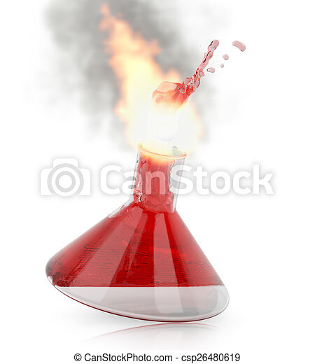 Chemistry flask with burning red liquid - csp26480619