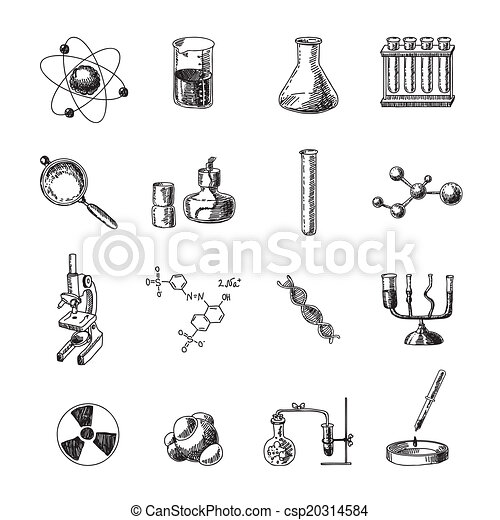 Chemistry Icons Set Scientific Chemistry Laboratory Equipment Of
