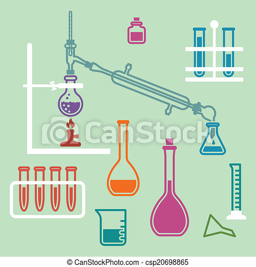 chemistry lab equipment various glass chemistry lab equipment rh canstockphoto com Chemistry Tube Clip Art Solution Chemistry Clip Art