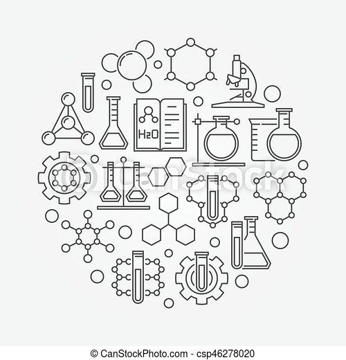 Chemistry lab round illustration - csp46278020