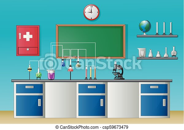 Chemistry laboratory class and science equipment concept - csp59673479