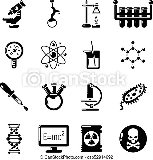 Chemistry Laboratory Icons Set Simple Style Chemistry Laboratory