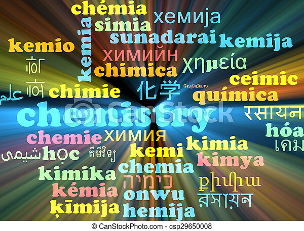 Chemistry multilanguage wordcloud background concept glowing - csp29650008