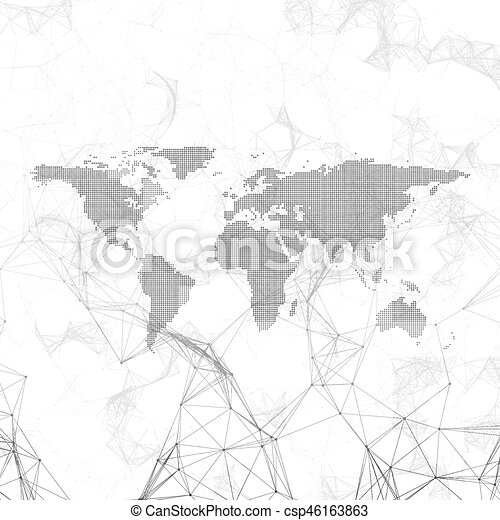 Chemistry pattern dotted world map connecting lines and clip chemistry pattern dotted world map connecting lines and dots molecule structure on white gumiabroncs Gallery