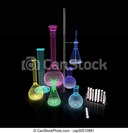Chemistry set, with test tubes, and beakers filled with colored liquids - csp30510981
