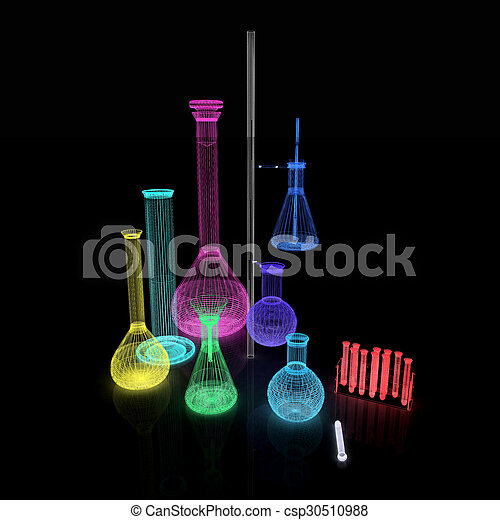 Chemistry set, with test tubes, and beakers filled with colored liquids - csp30510988