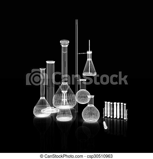 Chemistry set, with test tubes, and beakers filled with colored liquids - csp30510963